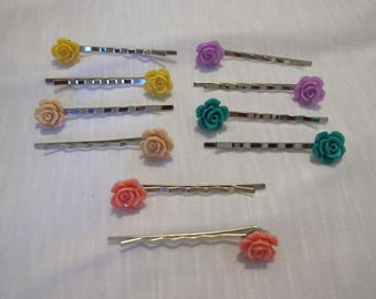 two rose hair pins 5 color options