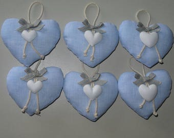 Cotton padded hearts with heart in chalk, cord and tassel