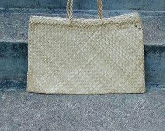 Vintage wicker bag flat woven market bag boho style wicker handbag