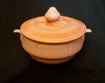 Vintage Soup Tureen with Lid, USA Wear, California Pottery, Two-Toned, 10""
