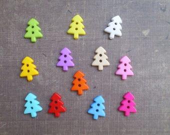 50 buttons shape tree tree mix colors 1.7 cm