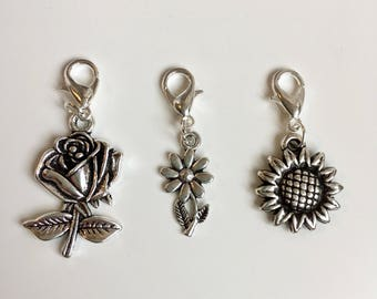 Flower stitch markers or progress keepers (set of 3)