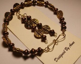 Brass & Copper Wire Work Bracelet and Earrings Set