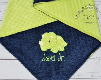 Dinosaur Minky Baby Blanket-Personalized Triceratops Dino Minky blanket-Personalized baby Boy Blanket-Navy Blue and Lime Green baby blanket