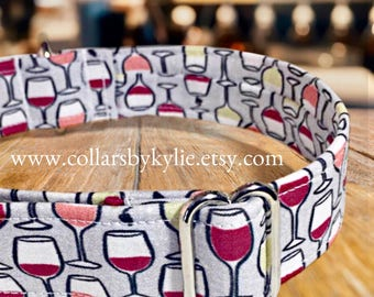 Wine Fabric Adjustable Dog Collar