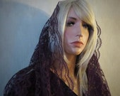 Deep Burgundy Lace Infinity Veil | Mantilla | Chapel Veil | Catholic Veil | Mourning Veil | Free Carry Pouch | The Veiled Woman