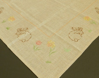 Vintage Spring Easter Table Linen Tablecloth, Rabbit, Tulip, Daffodil, Floral Table Cover, Table Cloth, Runner, Centerpiece, Buffet, Setting