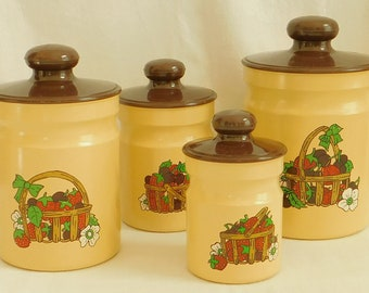 Vintage Kromex Canister Set, Yellow Brown, Aluminum, Metal, 4 Piece, Rustic, Country, Farmhouse, Fruit Basket, Mid Century, Old Food Storage