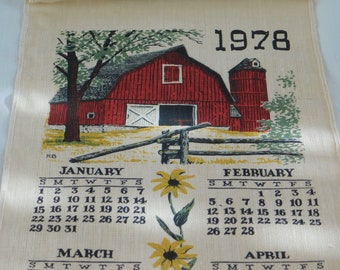 1978 Vintage Linen Calendar Towel, Hand Printed, Kay Dee, New in Box, Red Barn, Rural Farm Setting Motif, Over The Hill, 40th Birthday, Gift