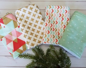 Aztec Burp Cloths, Modern Burp Cloths, Trendy Burp Cloths, Girl Burp Cloths, Burp Cloth Set, Baby Shower Gift Set, coral burp cloth