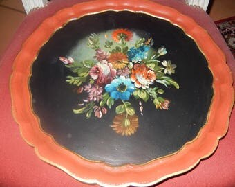trays round decorative painted bouquet has patina and gilt Venetian style hand