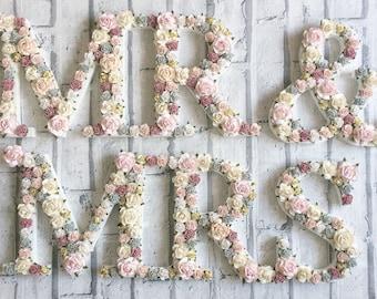 Custom made floral Mr & Mrs sign//wedding decor// cake table