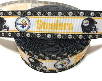 Steelers Ribbon, Pittsburgh Steelers Ribbon, Steelers Grosgrain Ribbon