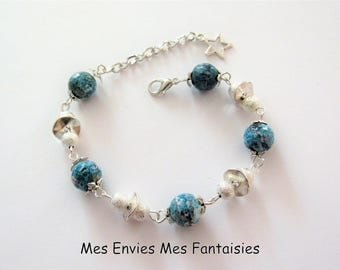 A faceted Turquoise Agate bracelet ღ ღ silver stardust beads