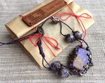 Charoite bracet Natural charoite beaded bracelet Handmade bracelet Charoite jewelry Gemstone jewelry Purple bracelet