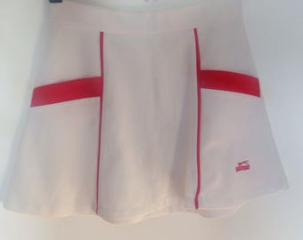 Vintage Tennis Skirt / 70s Tennis Skirt by Slazenger / 60s Sports Dress / 1970s White Mini Skirt / 1960s Retro Skirt /Sporty Cheerleader S/M