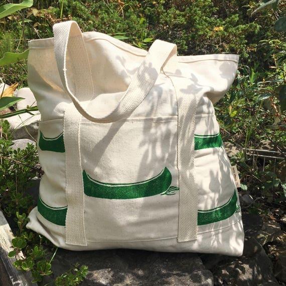 Pretty one of a kind large beach bag with six pockets, hand printed in dark green!