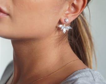 Marquise Crystal Jacket Earrings, Earring Jacket, Ear Jacket, Minimal Earring Climber, Wedding earrings, Bridesmaids Earrings, Cuff Earrings