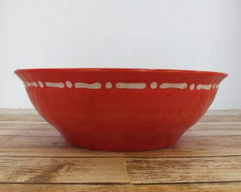Wheel-Thrown Red Serving Bowl