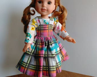"""14.5"""" doll jumper, blouse and hat set, plaid jumper and owl top, made to fit 14.5"""" doll like welliw wishers"""