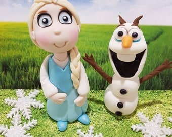 Frozen Elsa or Olaf Frozen Birthday Cake Topper, Edible Fondant Decoration