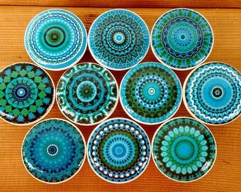 Turquoise Blue Mandala Wood Drawer Knobs on Cherry Wood Knob Size 1.5  x 1.18 Drawer Pulls, Dresser Pull, Home Decor