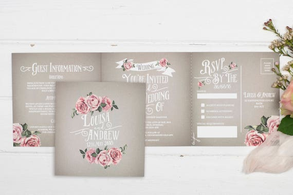 Rustic Wedding Invitation - Double-Folded Grey Rustic Rose