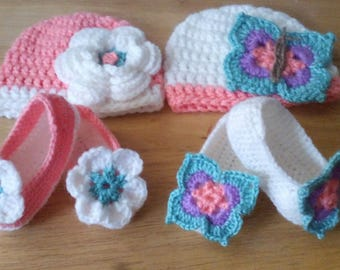 BABY Girl HAT and Matching SLIPPERS. Flower or Butterfly Style. From birth to 12 months
