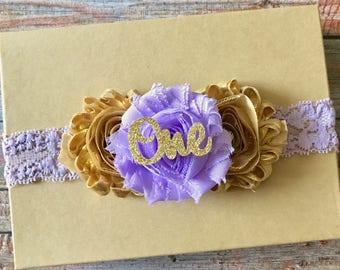 Lavender & Gold Headband/First Birthday Headband/1st Birthday/Baby Headband/Girls Headband/Toddler Headband/Newborn Headband/Infant Headband
