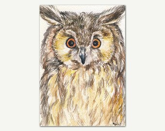Owl Watercolor Print, Original Painting, Home Wall Art, Owl Poster, Nursery Wall Decor, Kids Room, Gift For Kids, Owl Printable Art