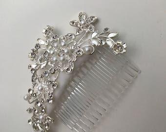 silver Pearl Rhinestone Flower Hair Comb / Wedding Hair Comb /Handmade Hair Comb