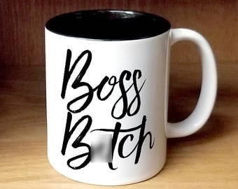 Boss Day, Boss B*tch Coffee Mug (W988-BLK-rts)