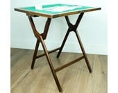 Antique folding campaign card table  wooden folding card table  early 20th century card table