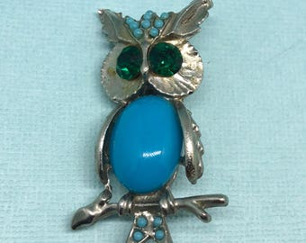 Vintage Jeweled Owl Brooch Bright Blue and Silver Tone Owl Pin Jelly Pin
