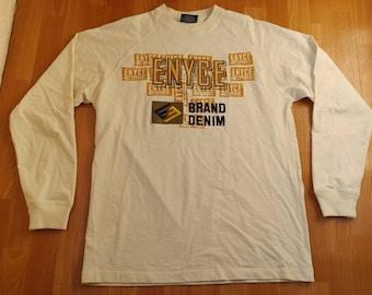 Enyce sweatshirt, beige sweat shirt of vintage 90s hip-hop clothing, 1990s hip hop shirt, sewn, OG, gangsta rap, size L Large