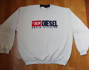 DIESEL sweatshirt, vintage sweat shirt vintage 90s hip-hop clothing, old school 1990s hip hop hoodie, streetwear, gangsta rap, size XXL 2XL