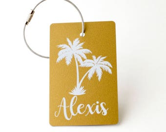 Palm Tree Luggage Tag - FREE SHIPPING, Gold and White Luggage Tag, Luggage Tag, Custom Luggage Tag, Custom Gift, Monogram Gift