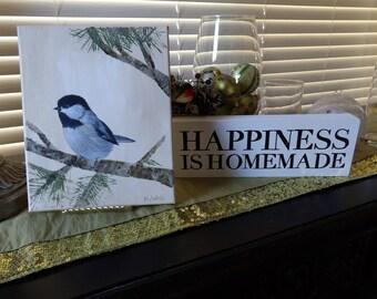 Small Bird, Bird Art, Black Capped Chickadee, Acrylic Bird Art, Bird Painting Canvas, Small Bird Painting, Living Room Art,