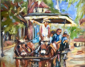 Original impressionist oil painting//Charleston carriage ride//South Carolina art//wall decor//12x12 inch/