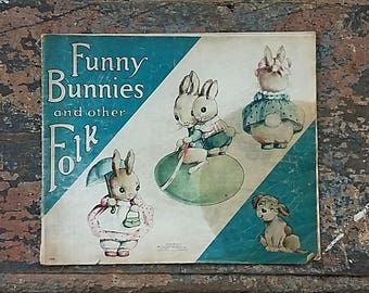 Vintage Child's Book Funny Bunnies & Other Folk, McLoughlin Bros. Linette