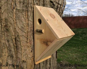 Angled Design Handcrafted Cedar Wooden Bird House, Made for Multiple Species of Birds, Great addition to your backyard garden areas.