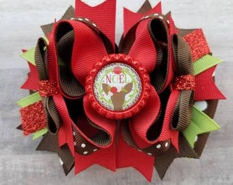 Christmas Hair Bow, Noel Hair Bow, Girls Christmas Hair Bow, Christmas Hair Clip, Christmas Boutique Hair Bow, Christmas Bow
