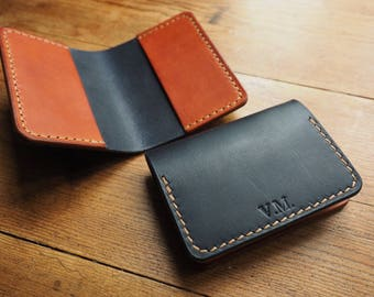 Leather wallet, bi fold wallet, leather card holder, dark blue leather, auburn tan leather, leather gift, christmas gift