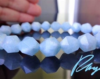 Natural Brazilian Aquamarine Bead Bracelet for Men or Women facetted (Stretch) 10mm beads AAA Quality