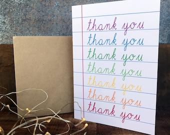 thank you card in rainbow, teachers appreciation card