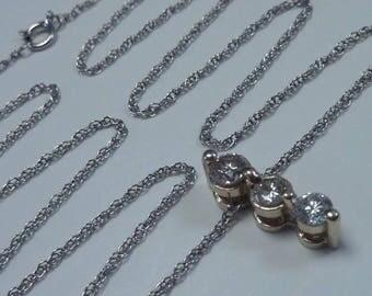 """14K White Gold 2/3 ct. tw. Diamond Pendant with, 14K White Gold 18"""" Chain"""