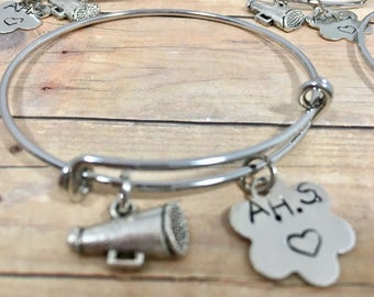 Cheer Bracelet, Cheerleader Adjustable Bangle Bracelet with Megaphone, hand stamped charm bangle bracelet, Personalized High School Bracelet