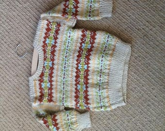 Hand knitted fair isle sweater for 1 yr old
