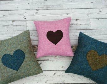 Promotion Hand Crafted Harris Tweed heart cushion cover