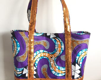 WAX faux suir and cotton tote bag size M square sequins